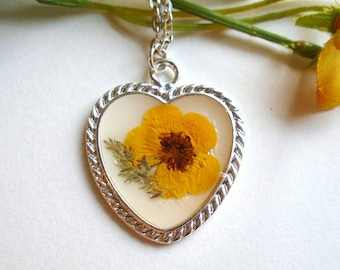 Real Pressed Wildflower Buttercup Heart Resin  Pendant Necklace