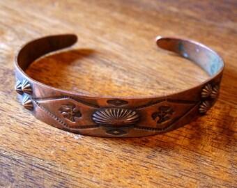 Vintage Southwestern Copper Cuff Bracelet Bell Trading Post Native American