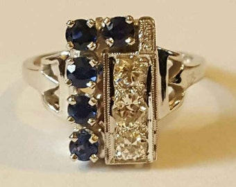 Art Deco 14k White Gold Diamond and Sapphire Ring Size 6 1/2