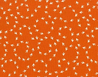 Chicken Scratch by Michael Miller Fabrics Just Us Chickens Collection Orange Fabric Michael Miller Fabrics Chicken Track Fabric Bird Tracks