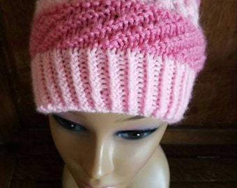 Knit  Shades of Pink Slouch Hat with PomPom (SUPER SALE)