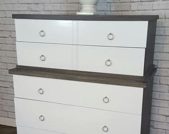 Available Modern mid century modern weathered grey and white chest