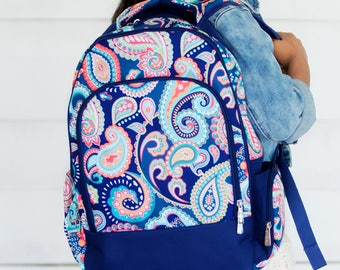 Emerson Paisley Backpack - May be Monogrammed or Personalized with Embroidered Name - Back to School Book Bag