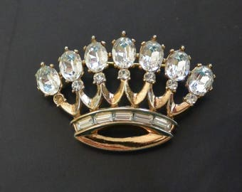 Vintage 1940s Trifari Alfred Philippe Rhinestone Regal CROWN Brooch Pin PAT PEND
