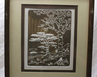 al kaufman intaglio etching titled good night signed and numbered by the artist framed art interior decoration