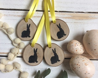 Easter Decorations - Set of Four -  Rustic Log Slice Decorations - Easter Hanging Decorations - Easter Tree - Easter Bunny - Rustic Decor