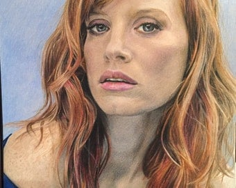 Original Color Pencil Drawing of Actress Jessica Chastain