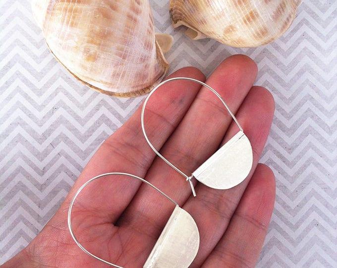 Sterling Silver Earrings half hoop - drop and dangle earrings -contemporary jewelry -tribal silver earrings -gift for her -minimal earrings