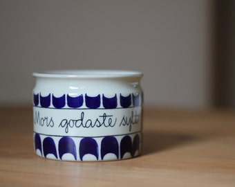 Rörstrand Marianne Westman Mid Century Jar Mom's Tastiest Jam Scandinavian Rare Collector's Item