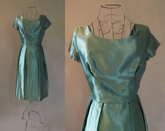 1950s - Blue Green Satin Dress