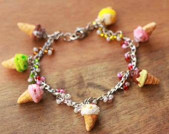 Ice Cream Cones Candy Bracelet - Candy Jewelry - Miniature Food Jewelry