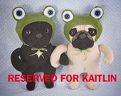 RESERVED FOR KAITLIN Weezy and Churro, handmade pug art toys