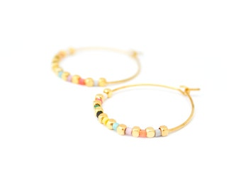 Miyuki pearls earrings / / gold plated hoop earrings / / gifts for her / / jewelry for her