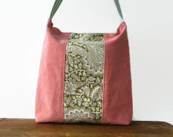 Eco Friendly Tote Bag, Pink Corduroy, Green, Beige, Made with Repurposed Materials, Inner Pocket Outer Pocket, Upcycled Recycled Repurposed