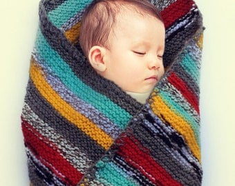 Knitted hooded striped baby blanket red grey green yellow