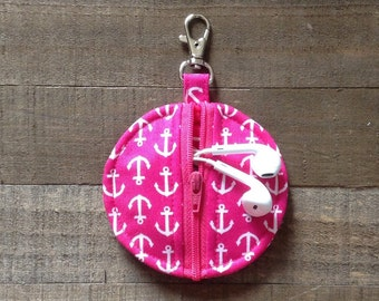 Circle Zip Earbud Pouch / Coin Purse - Hot Pink and White Anchors