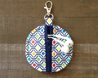 Navy Geometric Rainbow Dot on White Circle Zip Earbud Pouch Coin Purse Lip Balm Holder Green Red Yellow Aqua Blue Rainbow