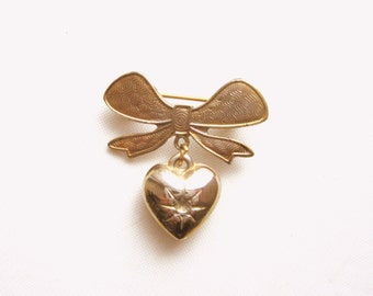 Bow Brooch Drop Small Puffy  Heart