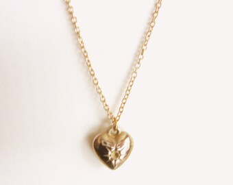 """Small Puffy Heart Pendant Necklace & Gold Plated Chain 18"""" Inch"""