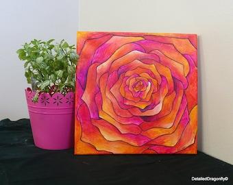 original acrylic painting, abstract painting, pink flower, flower painting, colorful painting, 12x12 painting, small painting, wall art