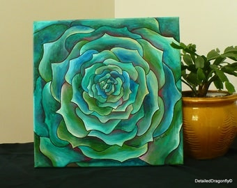 original acrylic painting, acrylic art, abstract art, small painting, canvas, green painting, wall art, green rose, colorful painting