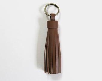 Leather Tassel Keychain - Caramel