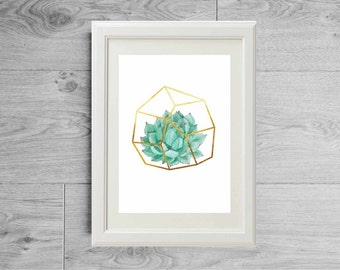 Gold himmeli succulent print - Plant hanger print - Foil gold himmeli print - Watercolor succulent poster - Terrarium print - Himmeli decor
