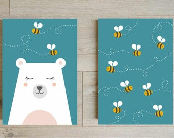 Bear and bees nursery prints | Save 20% - Set animals bundle - Animals print - Animals poster - Blue nursery decor - Blue prints -Kids print