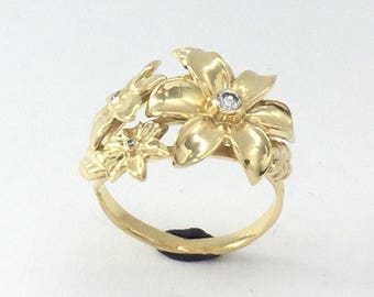 Unique Engagement Ring - 14k Gold and Real Diamonds Ring, Gold Flower Ring, Diamond Engagement Ring, Nature Inspired Engagement Ring
