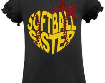 Softball Sister Shirt, Girls Softball Shirt, Softball, Softball Shirt, Softball Bow, Girls Softball, Toddler Softball