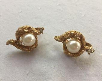 Trifari Gold,Pearl, & Rhinestone Clip Earrings 1950's