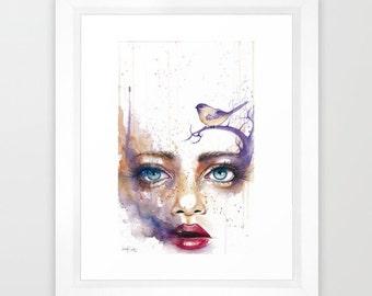 Reverie Watercolor Painting Framed Art Print