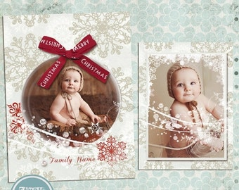 ON SALE Photoshop Christmas Card Template for Photographers, Photo Card, Christmas Card