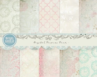 ON SALE Digital Scrapbooking Papers pack, 12x 12 in 300 dpi vol.49 - INSTANT Download