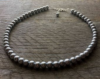 Grey Pearl Necklace Pewter Bridal Necklace One Single Strand Simple Pearl Necklace on Silver or Gold Chain