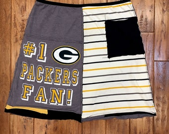 Green Bay Packers upcycled tshirt skirt, women's upcycled clothing, Size XLarge, athletic NFL football, upcycled recycled repurposed tshirts
