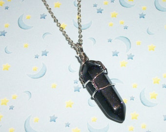 Galaxy Crystal Quartz Necklace, Pastel Goth Crystal Point Chain Necklace