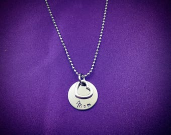 Mom necklace--sweet & petite--stainless steel round disc pendant hand stamped with Mom Mommy Grandma Granny Nana Sittu Mammie Gigi or a name