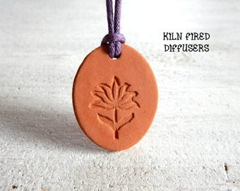 Aromatherapy Essential Oil Diffuser Flower Pendant Kiln Fired Ceramic Unglazed Botanical Natural Yoga Jewelry Nature Lover Unique Gift