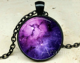Purple nebula art pendant, nebula necklace, nebula jewelry, nebula pendant, galaxy pendant, galaxy necklace, space jewelry, Pendant #SP108BK