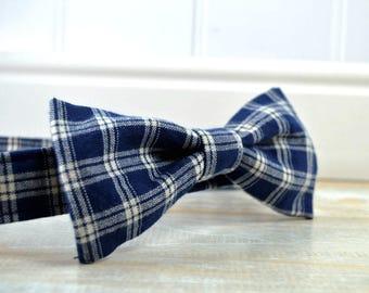 Blue Plaid Dog Bowtie, Dog Bowtie for Collar, Bow Tie Dog Collar Accessory