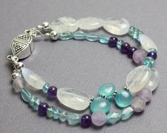 Double Strand Gemstone Bracelet,  Moonstone Bracelet, Artisan Bracelet, Mixed Gemstone Bracelet, Gemstone Jewelry, Kathy Bankston, Bracelet