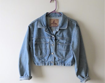90s Apache Denim Jacket Cropped Jean Jacket Made in Canada Women's US Size Medium