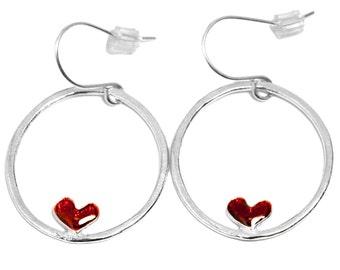 Sterling silver Valentine red heart earrings