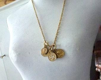 gold coin necklace - golden coins- lucky girl necklace- dangle necklace