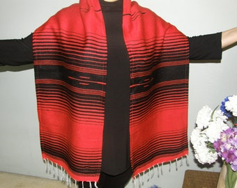 Mexican Serape Red and Black Shawl Scarf Wrap made from Mexican Serape Fabric with fringe - also use as table runner