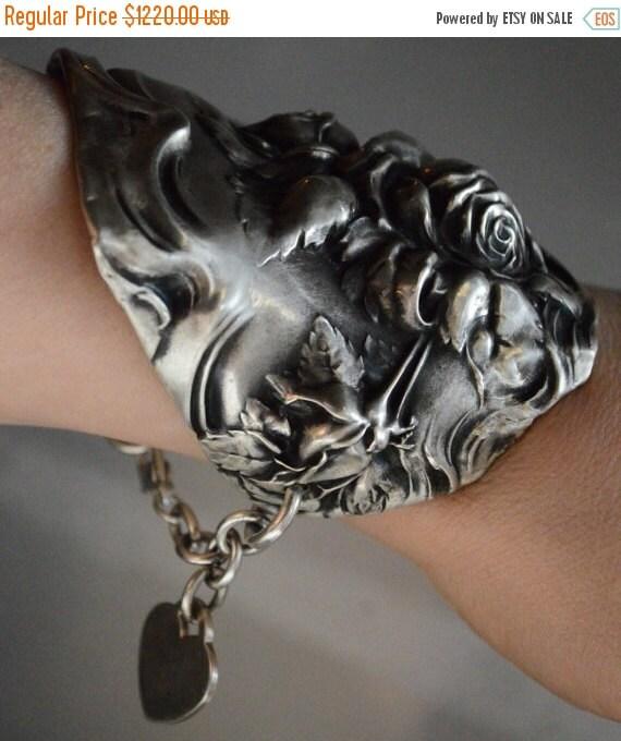 SALE 40% OFF Baroque Antique Art Noveau Repousse High Relief Rose Floral Sterling Solid Silver 925 Wide Cuff Bracelet Armlet Bouquet Wedding