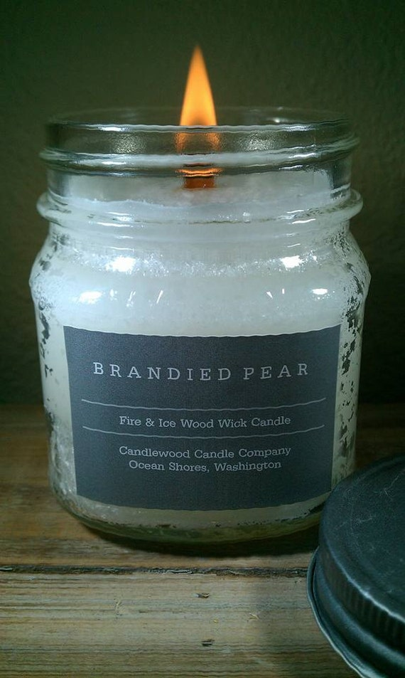 Brandied Pear - New Fire & Ice Wood Wick Candle with Pewter Lid 9 oz - Free Shipping in the USA