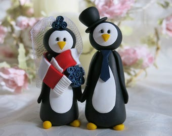 Fimo Penguin Bride & Groom Wedding Cake Toppers - Handmade to Order Choose Colours