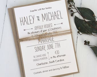 Rustic Wedding Invitation, Modern Wedding Invitation, Modern Rustic wedding Invitation. Handmade. Typography. Wedding Invitations